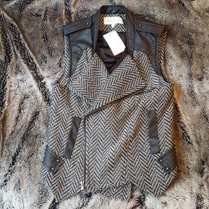 Black and white moto vest w/ faux leather details